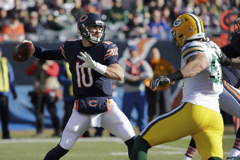 Chicago Bears quarterback Mitchell Trubisky (10) passes during the first half of an NFL football game against the Green Bay Packers Sunday, Dec. (AP Photo/Nam Y. Huh)