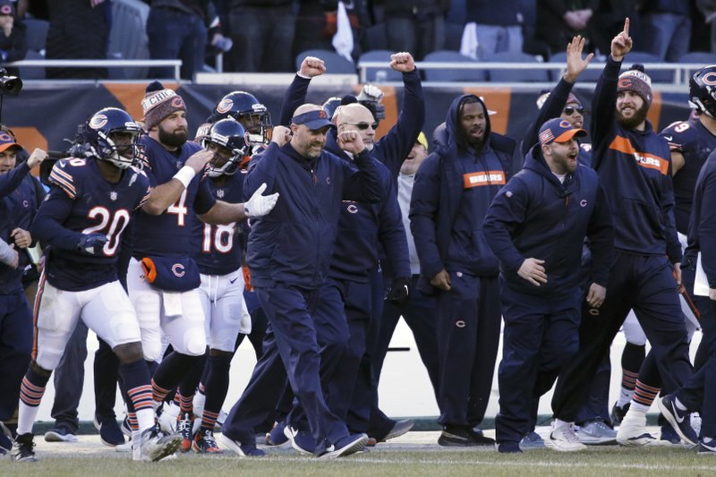 Chicago Bears head coach Matt Nagy celebrates with his team after an NFL football game against the Green Bay Packers Sunday, Dec. (AP Photo/David Banks)
