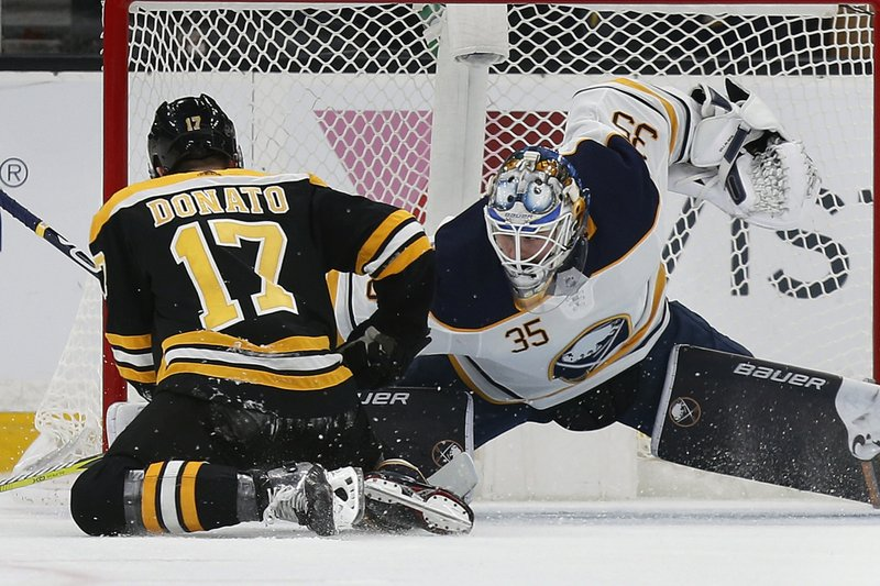 Buffalo Sabres' Linus Ullmark (35) blocks the penalty shot by Boston Bruins' Ryan Donato (17) during the first period of an NHL hockey game in Boston, Sunday, Dec. (AP Photo/Michael Dwyer)