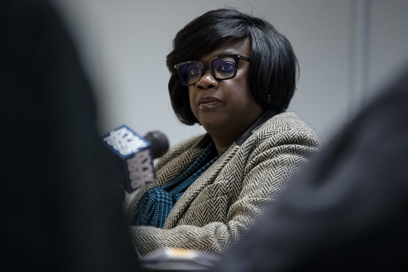 Vanessa Garrett Harley, Deputy Managing Director for Criminal Justice and Public Safety, speaks with members of the media in Philadelphia, Monday, Dec. (AP Photo/Matt Rourke)