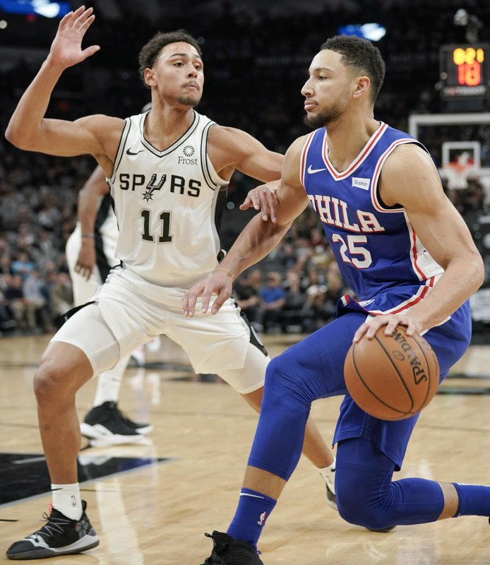 Philadelphia 76ers' Ben Simmons (25) drives against San Antonio Spurs' Bryn Forbes during the first half of an NBA basketball game, Monday, Dec. (AP Photo/Darren Abate)