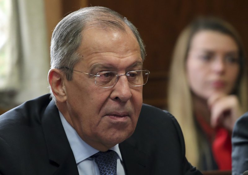 Russian foreign minister Sergei Lavrov attends a meeting on forming a constitutional committee in Syria at the European headquarters of the United Nations in Geneva, Switzerland, Tuesday, Dec. (Denis Balibouse/pool photo via AP)