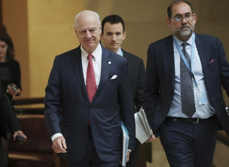 United Nations Special Envoy for Syria Staffan de Mistura attends a meeting on forming a constitutional committee in Syria at the European headquarters of the United Nations in Geneva, Switzerland, Tuesday, Dec. (Denis Balibouse/pool photo via AP)