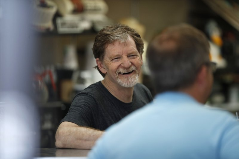 FILE - In this Monday, June 4, 2018 file photograph, baker Jack Phillips, owner of Masterpiece Cakeshop in Lakewood, Colo. (AP Photo/David Zalubowski, File)