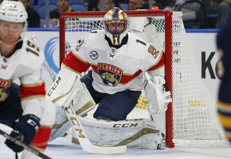 Florida Panthers goalie Roberto Luongo (1) looks on during the first period of an NHL hockey game against the Buffalo Sabres, Tuesday, Dec. (AP Photo/Jeffrey T. Barnes)