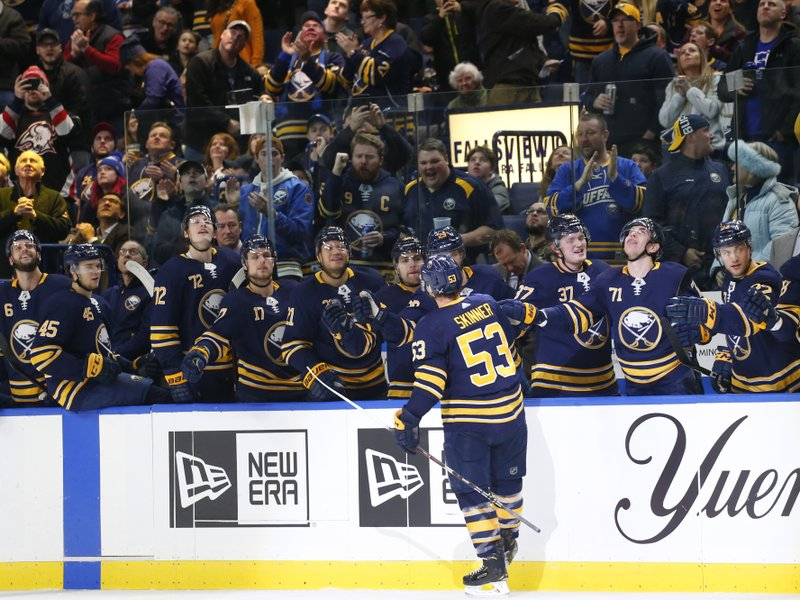 Buffalo Sabres forward Jeff Skinner (53) celebrates his goal against the Florida Panthers during the first period of an NHL hockey game, Tuesday, Dec. (AP Photo/Jeffrey T. Barnes)