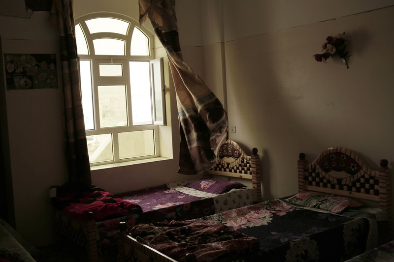 This July 28, 2018, photo shows a bedroom at the Rehabilitation Of Children Recruited and Impacted By War in Yemen Project center in Marib, Yemen. (AP Photo/Nariman El-Mofty)