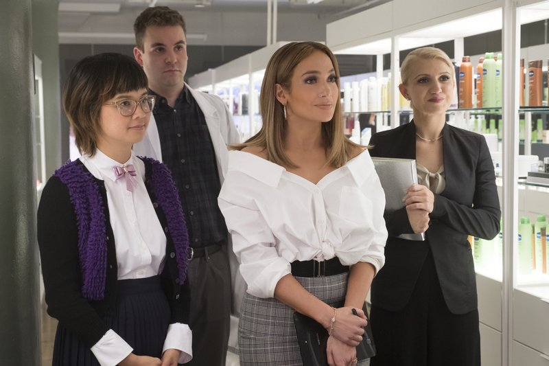 In this image released by STXfilms, from left, Charlyne Yi, Alan Aisenberg, Jennifer Lopez, and Annaleigh Ashford appear in a scene from