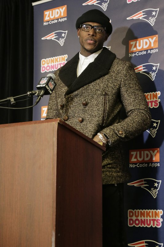 FILE - In this Nov. 25, 2018, file photo, New England Patriots' Josh Gordon speaks during a news conference after an NFL football game against the New York Jets, in East Rutherford, N. (AP Photo/Seth Wenig, File)