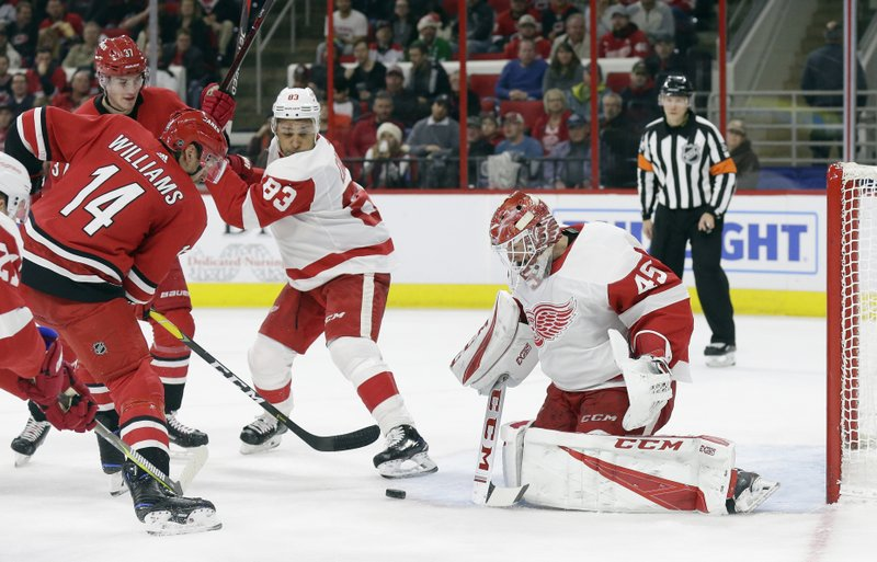 Detroit Red Wings goalie Jonathan Bernier (45) blocks Carolina Hurricanes' Justin Williams (14) as Red Wings' Trevor Daley (83) looks on during the second period of an NHL hockey game in Raleigh, N. (AP Photo/Gerry Broome)