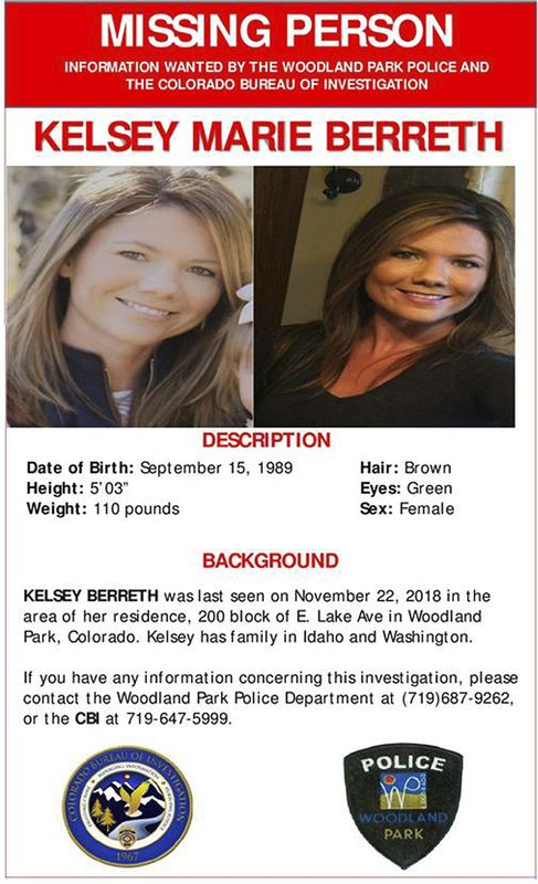 FILE - This online missing person poster provided by the Woodland Park Police Department shows Kelsey Berreth. (Woodland Park Police Department via AP, File)