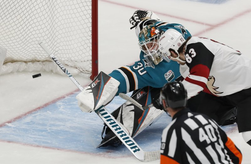 Arizona Coyotes' Conor Garland (83) scores against San Jose Sharks goaltender Aaron Dell (30) in the third period of an NHL hockey game in San Jose, Calif. (AP Photo/Josie Lepe)