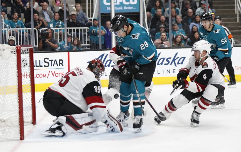 Arizona Coyotes' Darcy Kuemper (35) makes a save against the San Jose Sharks' Timo Meier (28) in the first period of an NHL hockey game in San Jose, Calif. (AP Photo/Josie Lepe)