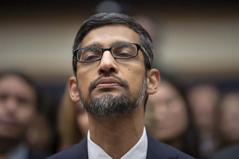 FILE - In this Dec. 11, 2018, file photo, Google CEO Sundar Pichai appears before the House Judiciary Committee to be questioned about the internet giant's privacy security and data collection, on Capitol Hill in Washington. (AP Photo/J. Scott Applewhite, File)