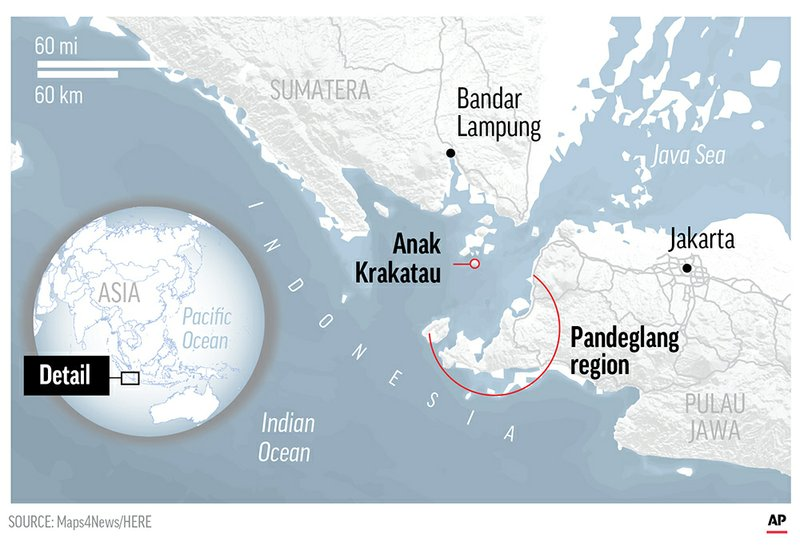 The worst-affected area was the Pandeglang region of Java's Banten province, which encompasses Ujung Kulon National Park and popular beaches, according to local reports.