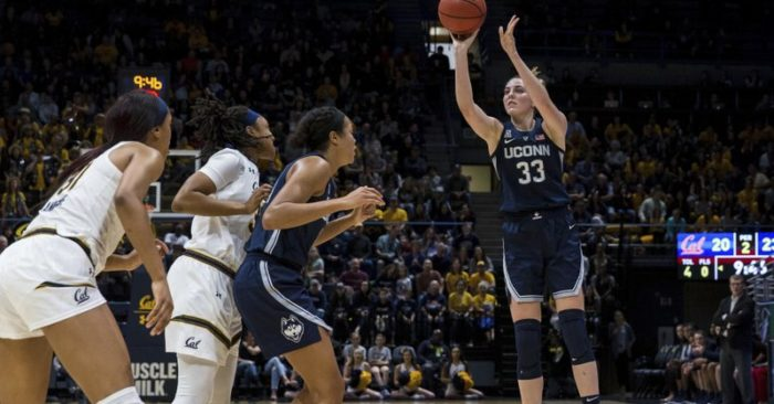 4e739b46a8e Connecticut guard forward Katie Lou Samuelson (33) takes a three-point shot  against the California in the second quarter of an NCAA college basketball  game ...