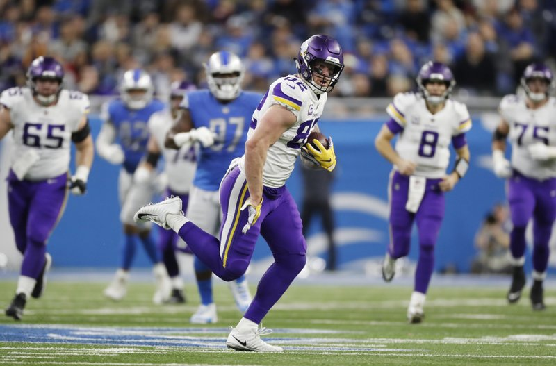 Minnesota Vikings tight end Kyle Rudolph rushes during the first half of an NFL football game against the Detroit Lions, Sunday, Dec. (AP Photo/Rey Del Rio)