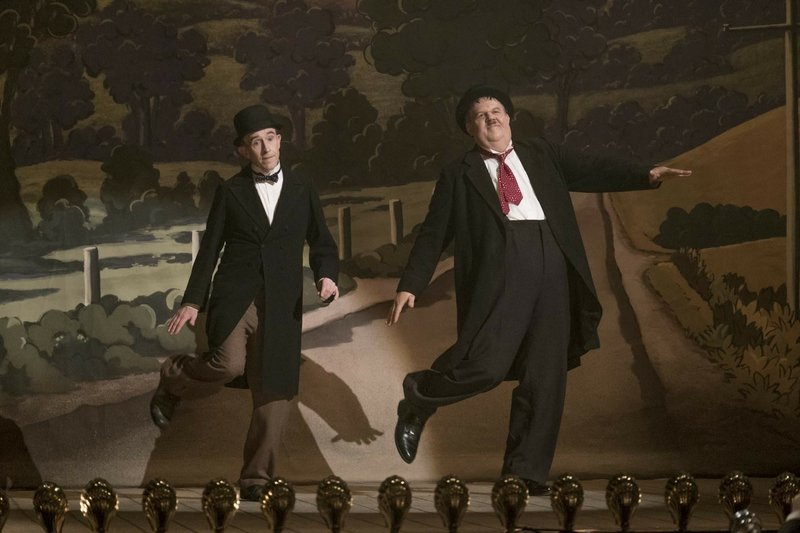 This image released by Sony Pictures Classics shows Steve Coogan as Stan Laurel, left, and John C. Reilly as Oliver Hardy in a scene from