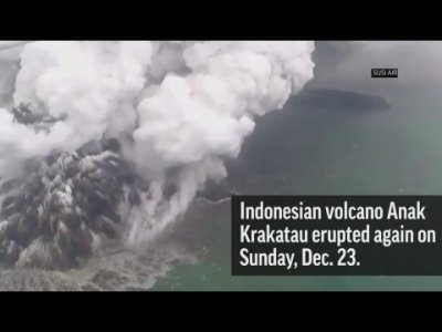 Death toll mounts after tsunami roars ashore in Indonesia. Giant chunk of mountainside apparently breaks loose during volcanic eruption, falling into the water and causing powerful waves and unleashing disaster. (Dec. 14)
