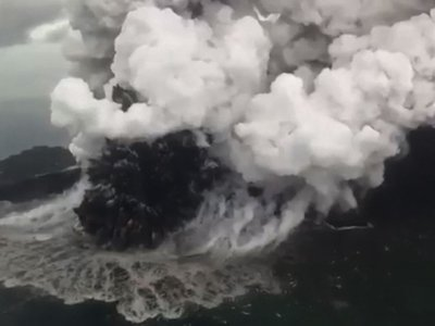 Video shows plumes of smoke rising above Anak Krakatau volcano, a day after the deadly tsunami hit Indonesia. (Dec. 24)