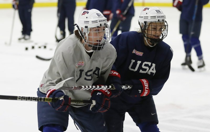 In a photo from, Thursday, Dec. 20, 2018, in Plymouth, Mich., USA Hockey forwards Hilary Knight, left, and Amanda Kessel skate during practice. (AP Photo/Carlos Osorio)