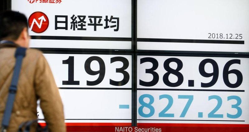 A man looks at Monday's loss of Nikkei stock index on an electronic stock board at a securities firm in Tokyo, Monday, Dec. (Yohei Fukai/Kyodo News via AP)