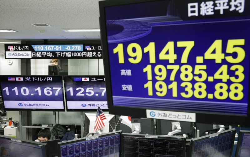 Monitors show Nikkei stock index, right, and the exchange rate between Japan's yen and U.S. dollar, left, at a foreign exchange trader's company in Tokyo, Monday, Dec. (Suo Takekuma/Kyodo News via AP)