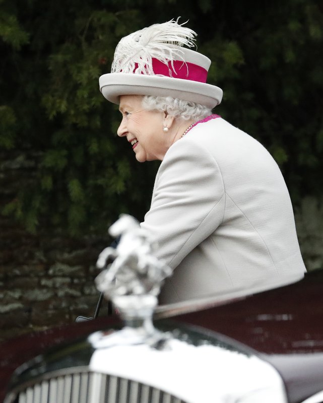 Britain's Queen Elizabeth II arrives to attend the Christmas day service at St Mary Magdalene Church in Sandringham in Norfolk, England, Tuesday, Dec. (AP PhotoFrank Augstein)