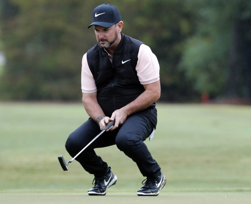 FILE - In this Oct. 25, 2018, file photo, Rory Sabbatini, of South Africa, reacts after his drive on the 17th fairway during the first day of the Sanderson Farms Championship golf tournament in Jackson, Miss. (AP Photo/Rogelio V. Solis, File)
