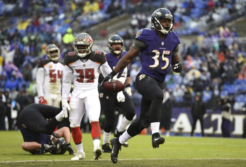 FILE - In this Dec. 16, 2018, file photo, Baltimore Ravens running back Gus Edwards (35) scores a touchdown in the second half of an NFL football game against the Tampa Bay Buccaneers in Baltimore. (AP Photo/Gail Burton, File)
