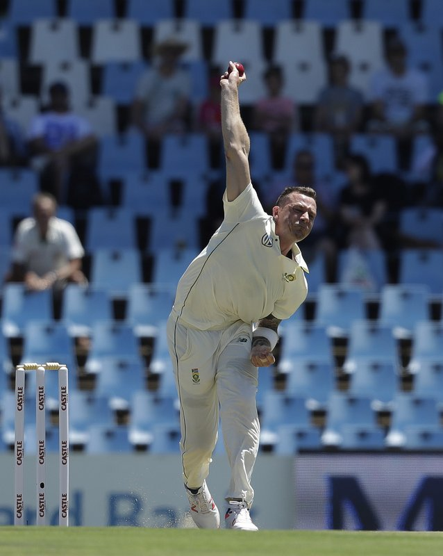 South Africa's bowler Dale Steyn bowls on day one of the cricket test match between South Africa and Pakistan at Centurion Park in Pretoria, South Africa, Wednesday, Dec. (AP Photo/Themba Hadebe)