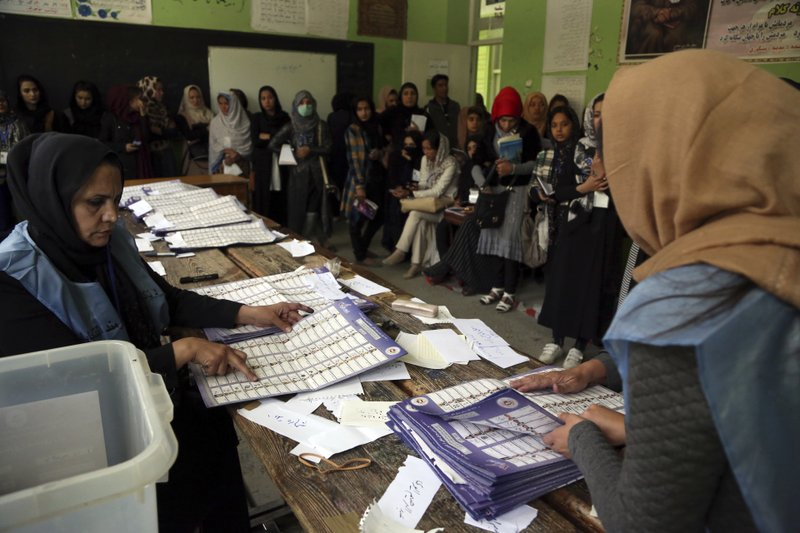 FILE - In this Oct. 21, 2018 file photo, Afghan election workers count ballots while monitors observe the process, during parliamentary elections, in Kabul, Afghanistan. (AP Photo/Rahmat Gul, File)