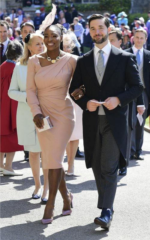 FILE - In this May 19, 2018, file photo, Serena Williams and her husband Alexis Ohanian arrive for the wedding ceremony of Prince Harry and Meghan Markle at St. (Ian West/Pool Photo via AP, File)