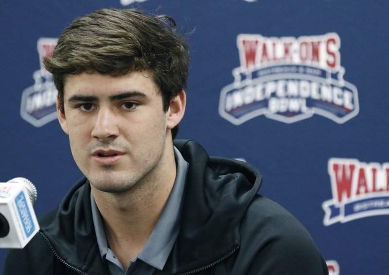 Duke quarterback Daniel Jones answers reporters' questions during the 2018 Independence Bowl news conference in Shreveport, La. (Rogelio V. Solis/AP)