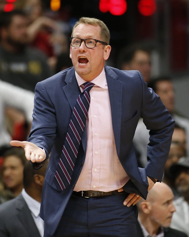 Toronto Raptors coachNick Nurse argues a foul call during the first half of the team's NBA basketball game against the Miami Heat, Wednesday, Dec. (AP Photo/Joel Auerbach)