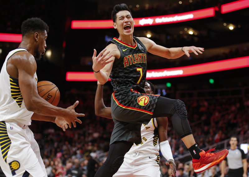 Atlanta Hawks guard Jeremy Lin (7) reacts as he has the ball knocked away during the first half of the team's NBA basketball game against the Indiana Pacers on Wednesday, Dec. (AP Photo/Todd Kirkland)