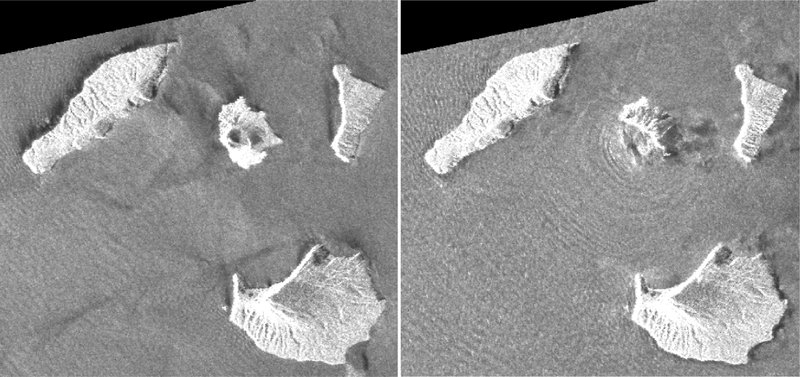 This combination of synthetic aperture radar images taken by JAXA's ALOS-2 satellite and analyzed by Geospatial Information Authority of Japan shows Indonesia's Anak Krakatau volcano, center in images, before and after the Dec. (Geospatial Information Authority of Japan via AP)