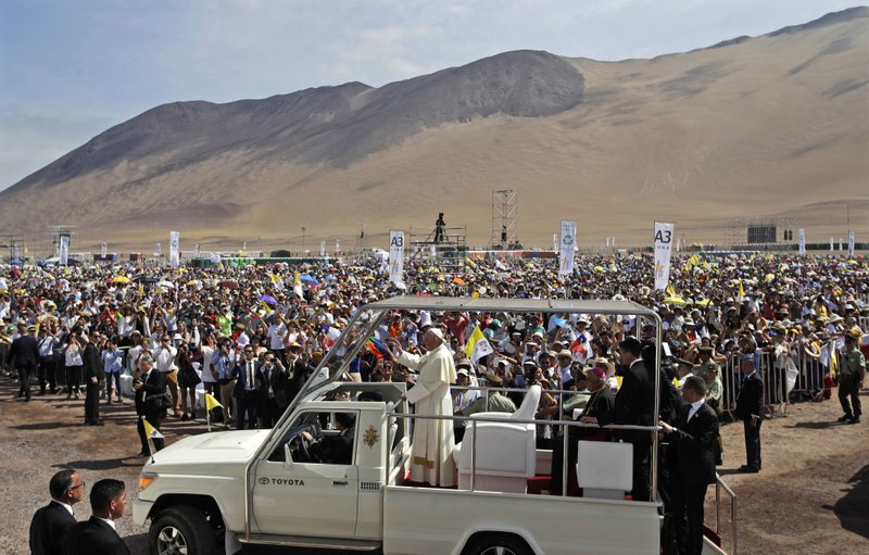 FILE - In this Jan. 18, 2018, file photo, Pope Francis arrives to celebrate Mass on Lobito Beach in Iquique, Chile. (AP Photo/Alessandra Tarantino, File)