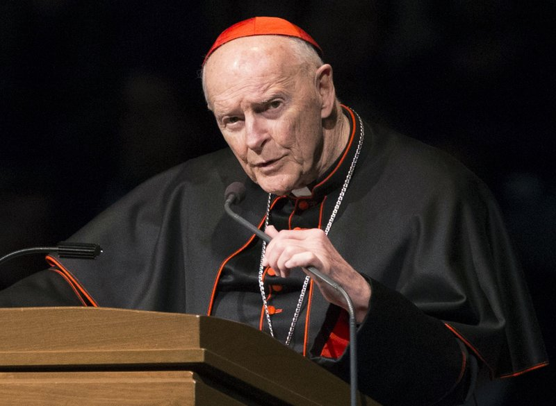 FILE - In this March 4, 2015, file photo, Cardinal Theodore Edgar McCarrick speaks during a memorial service in South Bend, Ind. (Robert Franklin/South Bend Tribune via AP, Pool, File)