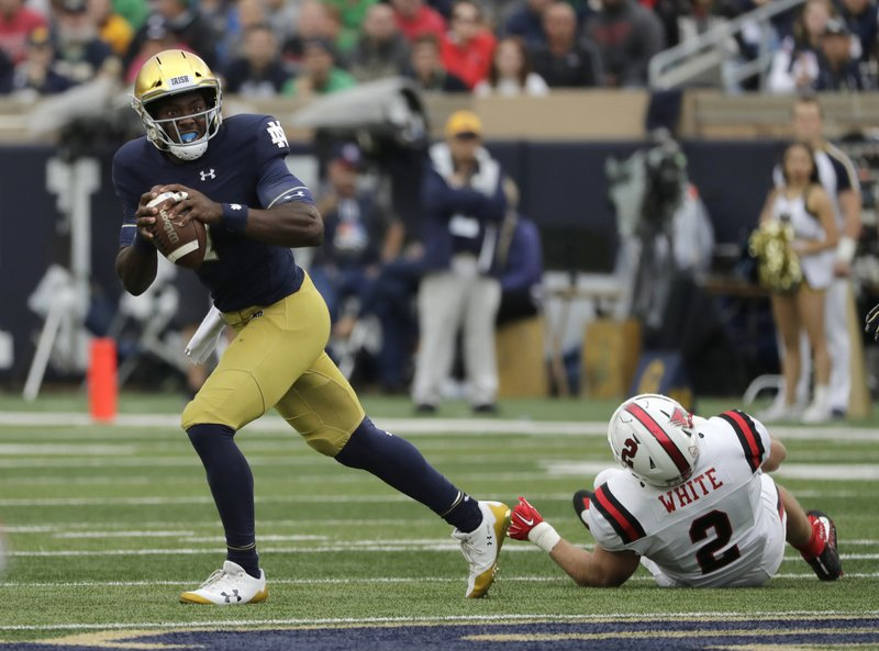 File- This Sept. 8, 2018, file photo shows Notre Dame quarterback Brandon Wimbush looking to pass against Ball State during the first half of an NCAA college football game in South Bend, Ind. (AP Photo/Nam Y. Huh, File)