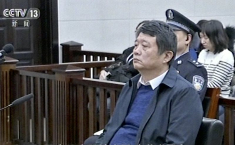 In this image made from Dec. 27, 2018, CCTV video, China's former deputy intelligence chief Ma Jian appears in a courtroom in the northeastern port city of Dalian, China. ($7.26 million) in penalties. (CCTV via AP)