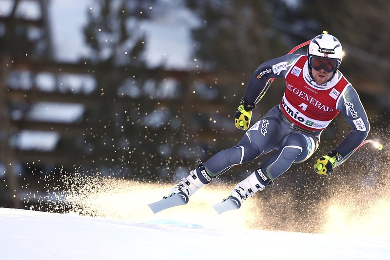 Norway's Aleksander Aamodt Kilde speeds down the course during a ski World Cup Men's Downhill training in Bormio, Italy, Thursday, Dec. (AP Photo/Marco Trovati)