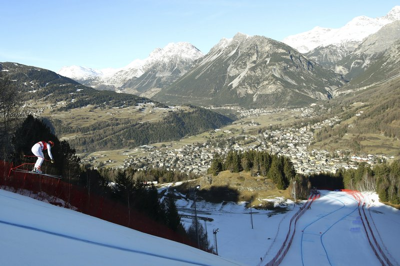 Italy's Christof Innerhofer speeds down the course during a ski World Cup Men's Downhill training in Bormio, Italy, Thursday, Dec. (AP Photo/Alessandro Trovati)
