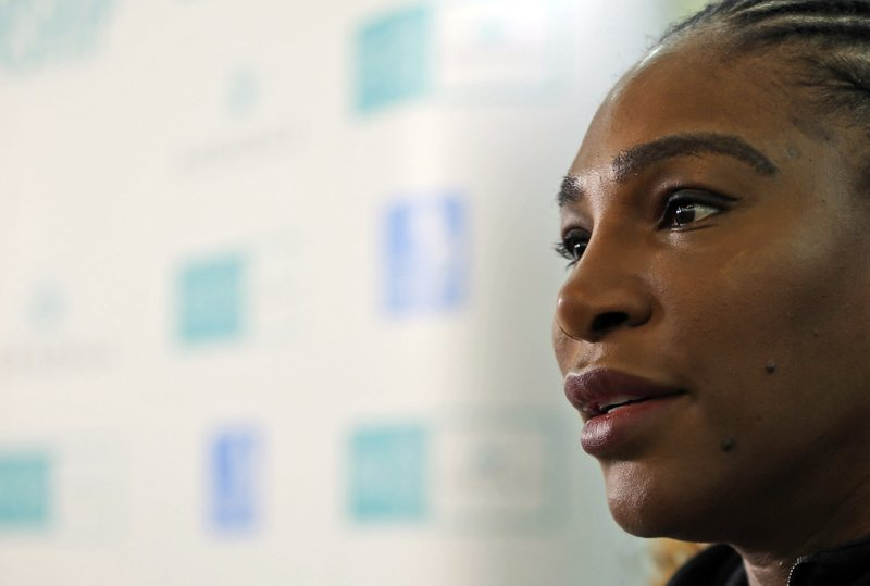 Serena Williams of the U.S. talks to journalists on the opening day of the Mubadala World Tennis Championship in Abu Dhabi, United Arab Emirates, Thursday, Dec. (AP Photo/Kamran Jebreili)