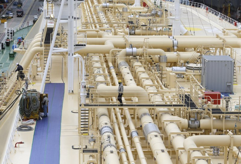 In this Friday, Dec. 7, 2018 photo, large-sized liquefied natural gas (LNG) carriers are being constructed at the Daewoo Shipbuilding and Marine Engineering facility in Geoje Island, South Korea. (AP Photo/Ahn Young-joon)