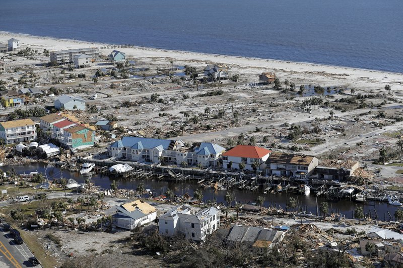 FILE - In this Oct. 12, 2018, file photo, debris from Hurricane Michael is scattered over Mexico Beach, Fla. (AP Photo/Gerald Herbert, File)