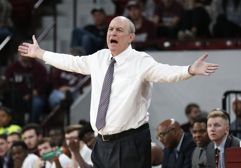 FILE - In this Dec. 19, 2018, file photo, Mississippi State head coach Ben Howland complains about a call by the officials during the second half of an NCAA college basketball game against Wofford in Starkville, Miss. (AP Photo/Rogelio V. Solis, File)
