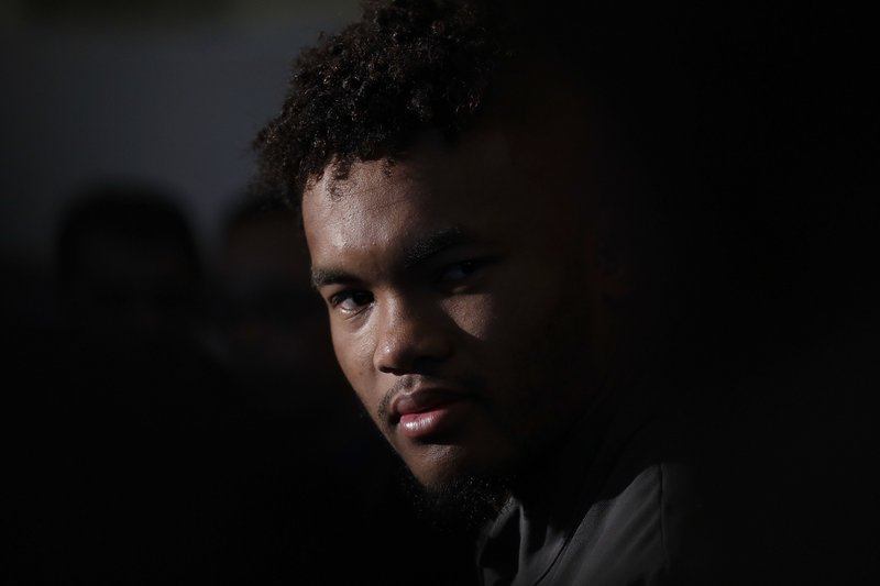 Oklahoma quarterback Kyler Murray speaks during an NCAA college football media day on Thursday, Dec. 27, 2018, in Miami Gardens, Fla. (AP Photo/Brynn Anderson)