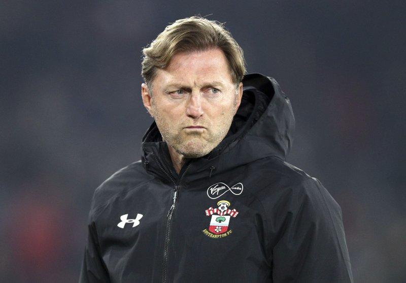 Southampton manager Ralph Hasenhuttl looks on during the English Premier League soccer match between Southampton and West Ham at St Mary's, in Southampton, England, Thursday, Dec. (Andrew Matthews/PA via AP)