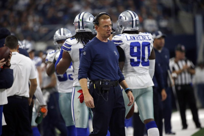 File-This Dec. 23, 2018, file photo shows Dallas Cowboys head coach Jason Garrett watching play against the Tampa Bay Buccaneers in the first half of an NFL football game in Arlington, Texas. (AP Photo/Ron Jenkins, File)